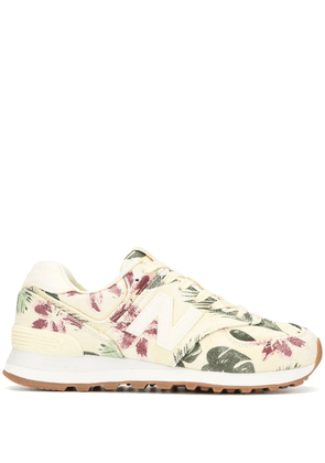 New Balance WL574 floral-print sneakers - Yellow