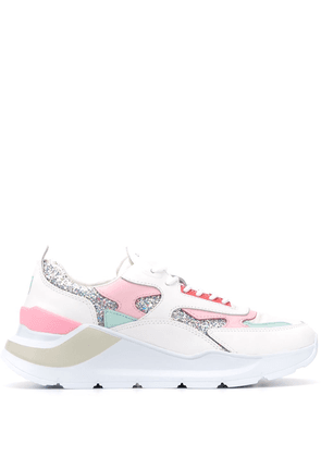 D.A.T.E. Fuga Glitter lace-up sneakers - White