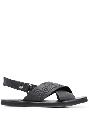 Baldinini embossed logo slingback sandals - Black