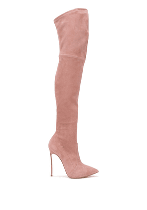 Casadei pointed thigh-high boots - PINK