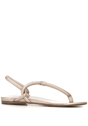Del Carlo metallic thong leather sandals - GOLD