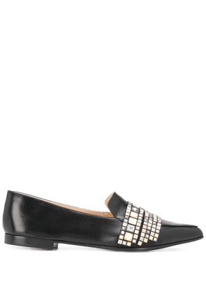 Casadei embellished pointed-toe loafers - Black