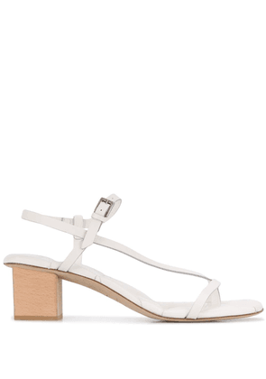 Del Carlo diagonal strap block heel sandals - White