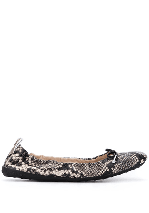Tod's snake-effect ballerina shoes - Black