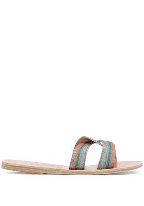 Ancient Greek Sandals x Le Sirenuse Desmos embroidered sandals - Blue