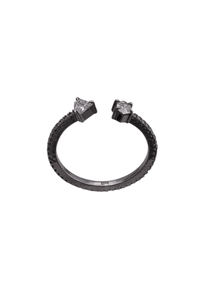 Eva Fehren 18kt white gold Off-Set Two Stone diamond rings - Grey