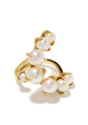 Ana Khouri 18kt yellow gold Time pearl ring - White and yellow