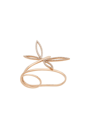 Anapsara 18kt rose gold Dragonfly diamond double-finger ring