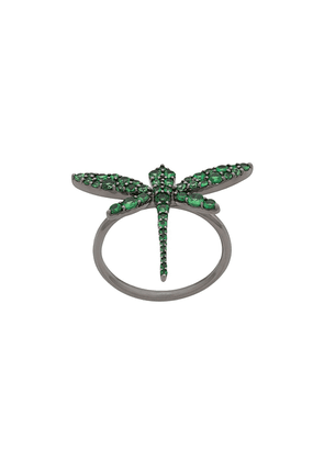 Anapsara 18kt rhodium plated white gold Dragonfly ring - YELLOW GOLD