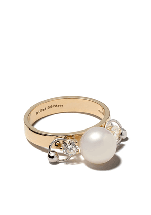 Delfina Delettrez 18kt white and yellow gold Two in One diamond ring -