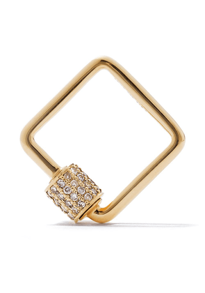 AS29 18kt yellow gold pave diamond small square carabiner