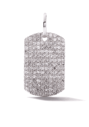 AS29 18k white gold pave diamond Curved Rectangle pendant - SILVER