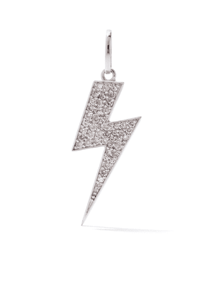 AS29 18kt white gold pave diamond long Flash pendant - SILVER