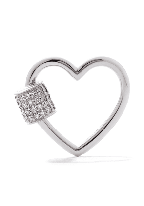 AS29 18kt white gold diamond heart carabiner - SILVER