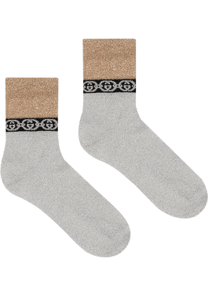 Gucci Interlocking G chain-trimmed socks - Metallic