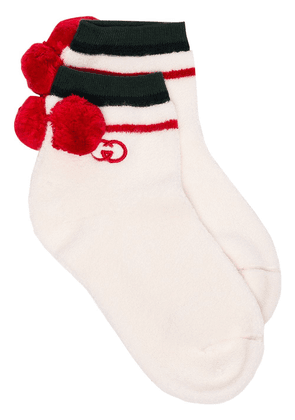 Gucci logo-embroidered cotton-blend socks - White