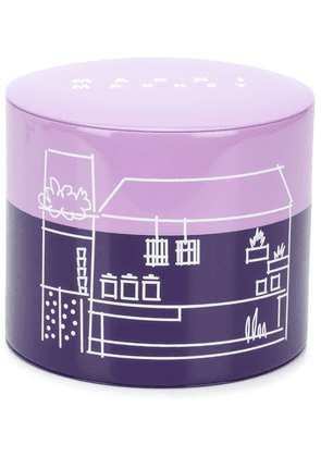 Marni Market illustration-print cylindrical tin - PURPLE