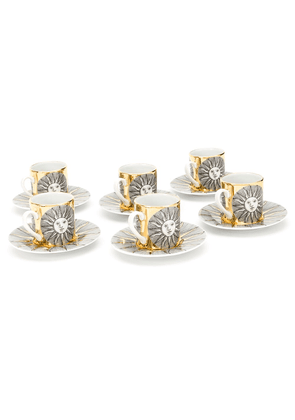 Fornasetti set of 6 Sole expresso cups - White