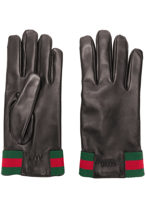Gucci Leather gloves with Web - Black