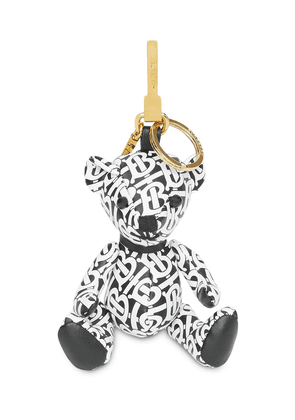 Burberry Thomas Bear Charm in Monogram Print Leather - Black