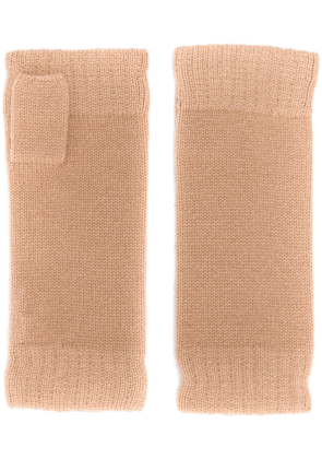 N.Peal fingerless cashmere gloves - NEUTRALS