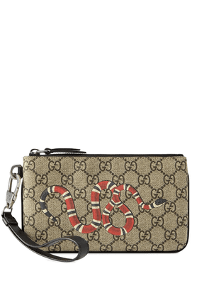Gucci GG Supreme snake print iPhone pouch - Brown