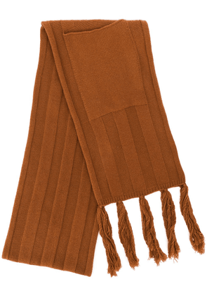 Danielapi patch-pocket fringed scarf - Brown