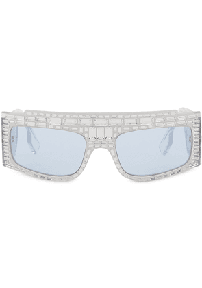 Burberry crystal-embellished rectangular sunglasses - SILVER