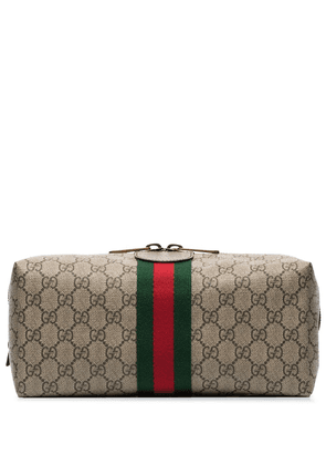 Gucci Ophidia GG Supreme leather-trimmed logo-print canvas wash bag -