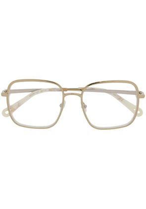 Chloé Eyewear marbled square-frame glasses - GOLD