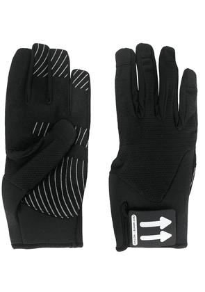 Off-White arrow logo patch gloves - Black