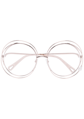 Chloé Eyewear Carlina Pearl round-frame glasses - GOLD