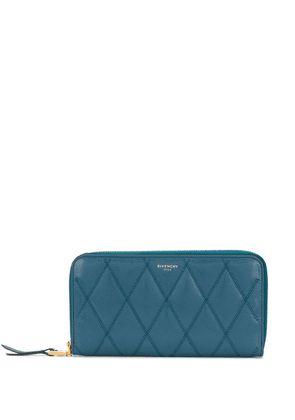 Givenchy GV3 diamond-quilted zip wallet - Blue