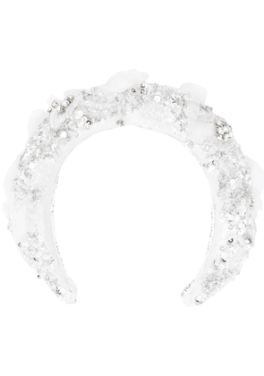 Loulou embellished bridal headband - White