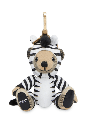 Burberry zebra costume Thomas bear charm keyring - White