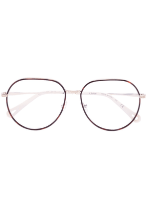 Chloé Eyewear tortoiseshell effect aviator glasses - NEUTRALS