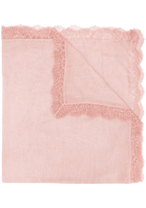 Faliero Sarti lace-trimmed scarf - PINK