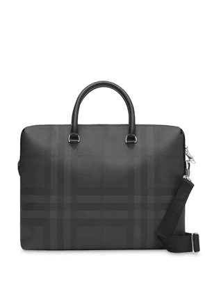 Burberry Large London Check and Leather Briefcase - Black