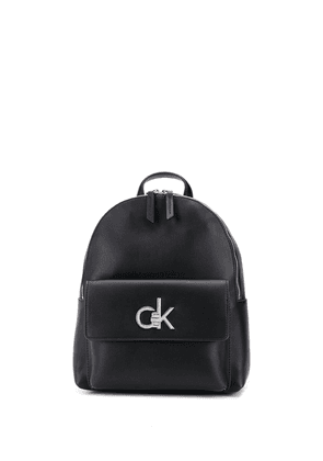 Calvin Klein logo-plaque faux-leather backpack - Black