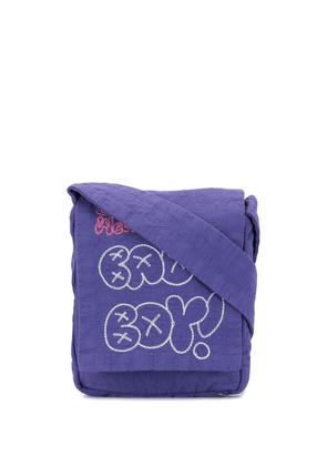 Bernhard Willhelm Bad Boy embroidered messenger bag - PURPLE