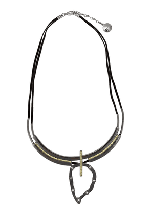 Camila Klein embellished suede necklace - Metallic