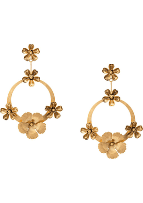 Jennifer Behr hoop with flowers earrings - GOLD