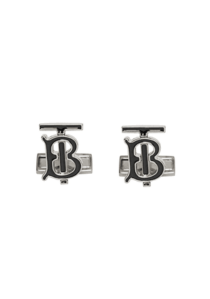 Burberry Monogram Motif Enamel and Palladium-plated Cufflinks - SILVER