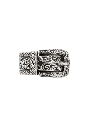 Gucci buckle detail monogram ring - SILVER