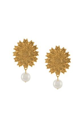 Jennifer Behr engraved pendant earrings - GOLD