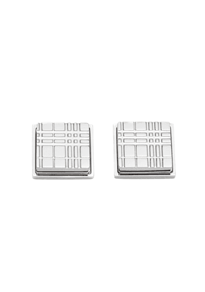 Burberry check-engraved cufflinks - Metallic