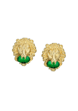 Gucci Lion head earrings with cabochon stones - GOLD
