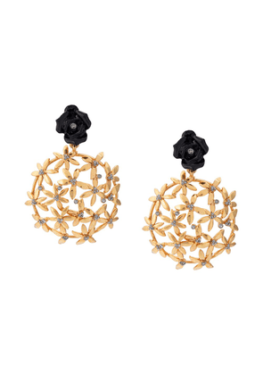 Oscar de la Renta rose flower earrings - GOLD