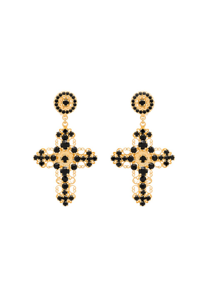Dolce & Gabbana crystal-embellished cross earrings - Black