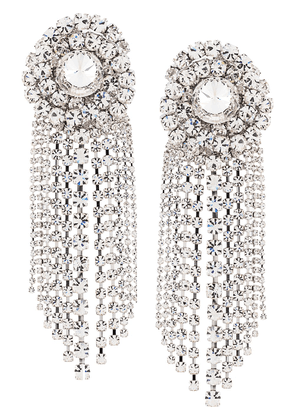 Alessandra Rich Faba spiral crystal clip-on earrings - SILVER